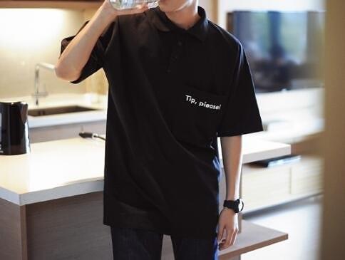 找到自己 MD 韓國 潮 男 時尚 翻領 大口袋字母印花 POLO衫 短袖T恤 特色T恤