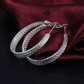 925純銀耳環 (耳針式)-圓環美麗生日情人節禮物女配件73au202[巴黎精品]