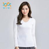 【WIWI】MIT溫灸刷毛V領發熱衣(純淨白 女S-2XL)