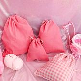束口袋-日系粉嫩少女風棉麻桌面萬物收納袋 大+中+小 三入收納包【AN SHOP】