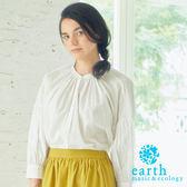 ❖ Spring ❖ 素面/條紋有機混紡無領落肩上衣 - earth music&ecology