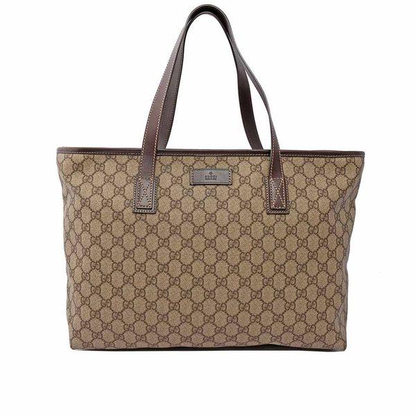 【GUCCI】GG plus PVC 拉鍊中型購物包(咖啡色) GU11000378