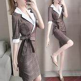 女神衣2021年新款春裝女職業西裝格子淑女連身裙女裝氣質女神范衣服LX 嬡孕哺