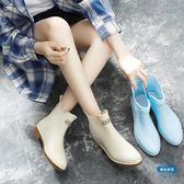 雨靴雨鞋女正韓可愛水鞋雨靴短筒成人學生切爾西套鞋膠鞋糖果中筒水靴 全館88折