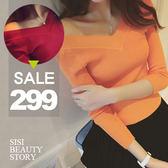 SISI【L5067】性感唯美 韓版前後大V領螺紋修身顯瘦針織衫上衣 露肩羅紋緊身T