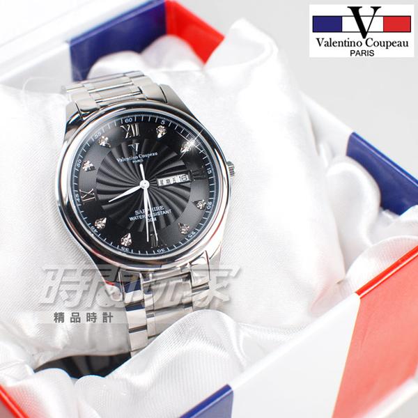 valentino coupeau范倫鐵諾 古柏 風車紋晶鑽時刻指針錶 防水 情人對錶 黑x銀 V61607SAM-2+V61607SAL-2
