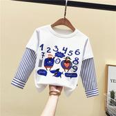 小童男女童洋氣條紋長袖T恤韓版3童裝2019新秋裝嬰兒童假兩件襯衣