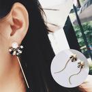 復古氣質水鑽拼接珍珠流蘇耳環 耳針 MHAA7220