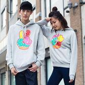 HAPPYTEE情侶裝春季 男女韓版學生帶帽衛衣女加厚卡通外套1476