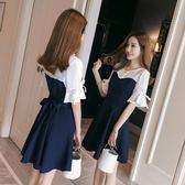 售完即止-夏裝2018新款女韓版小清新大碼裙子中長款短袖雪紡洋裝寬鬆顯瘦9-5(庫存清出T)