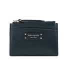 【KATE SPADE】Jeanne 素面皮革拉鍊卡片夾(汽油藍) WLRU5585 562