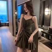 夏季時尚性感夜店v領低胸荷葉邊吊帶短裙收腰顯瘦交叉洋裝女裝 檸檬衣舍