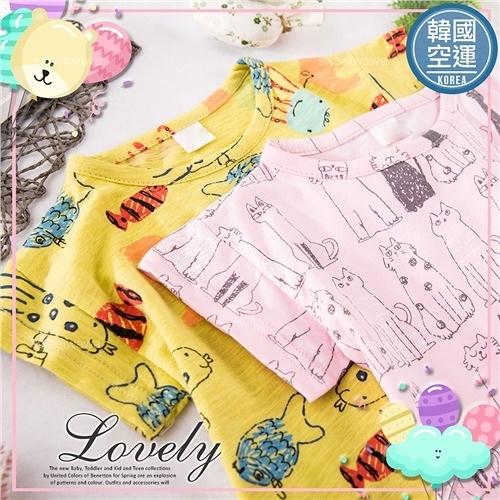 韓國童裝~中性款~可愛童趣繪圖短袖上衣-2款(290707)【水娃娃時尚童裝】