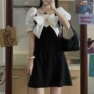 甜美系列 法式復古連衣裙女設計感小眾2021夏季新款甜美修身顯瘦泡泡袖裙子