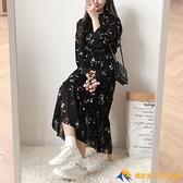 小個子新款秋女裝黑色長袖碎花連衣裙子氣質法式桔梗【勇敢者】