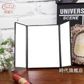 (交換禮物)隨身化妝鏡LED化妝鏡帶燈 隨身便攜鏡子 台面大號雙面梳妝折疊小鏡子