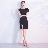宴會晚禮服2019新款高貴優雅黑色短款聚會派對洋裝小禮服連身裙女Mandyc