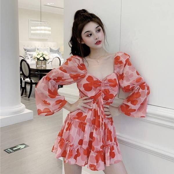 年前特銷 年早秋新款氣質方領收腰雪紡連衣裙設計感小眾輕熟風裙子女裝