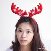 聖誕節頭飾 卡通蝴蝶結麋鹿鹿角圣誕頭扣雪花頭箍發箍頭飾 nm12609【pink中大尺碼】