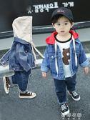 外套 童裝兒童牛仔外套男童女童外套寶寶連帽夾克小孩衣服 蓓娜衣都