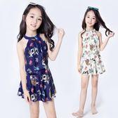 新款女童泳衣大中小童韓國兒童泳衣女孩學生連體裙式平角游泳衣 挪威森林