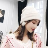 冬季保暖帽白色毛線帽針織帽子女秋冬正韓百搭冬天月子包頭時尚冬