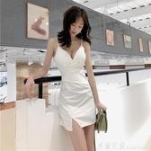 雪紡洋裝 夜場包臀吊帶裙V領低胸修身顯瘦性感洋裝摺皺設計收腰開叉短裙