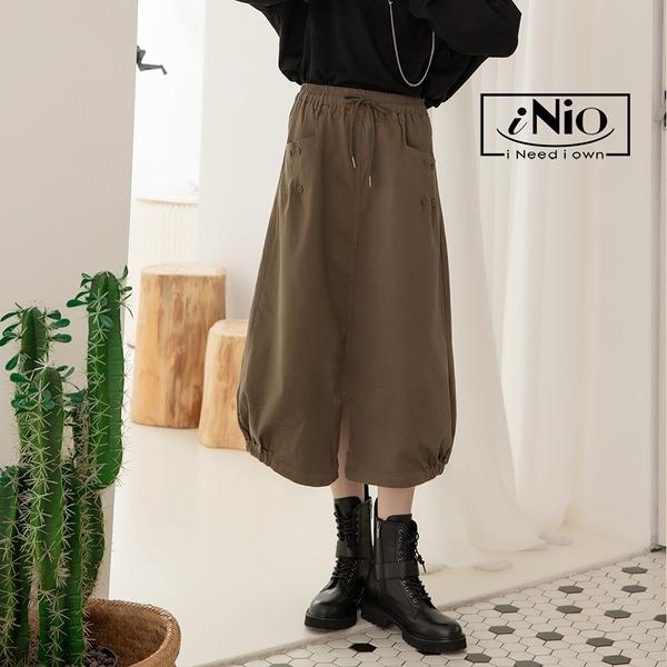 兩側口袋 鬆緊腰 A字裙 長裙-現貨快出【C1W2312】 iNio 衣著美學