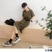 《DA7570-》純色高含棉側抽繩調節腰帶洋裝 OB嚴選