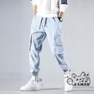 工裝褲 新款工裝牛仔褲男士國潮牌街頭寬鬆淺藍色春夏季束腳褲ins超火長 VK2162