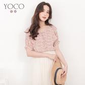 東京著衣【YOCO】浪漫輕肌碎花V領層次荷葉領雪紡上衣-S.M.L(190897)