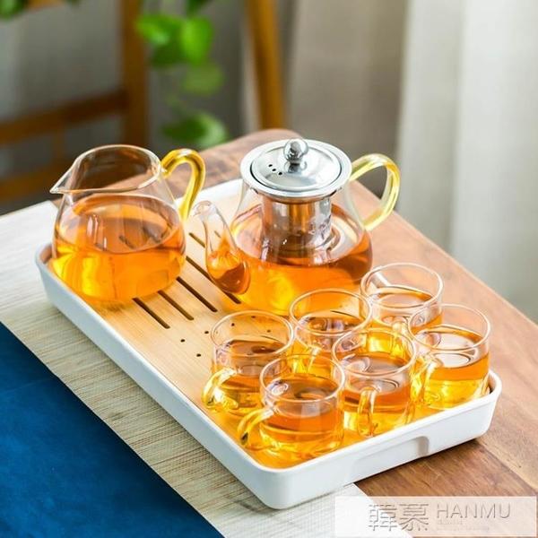 整套耐熱玻璃功夫茶具套裝家用花茶壺不銹鋼過濾泡紅茶器日式杯子 母親節特惠 YTL