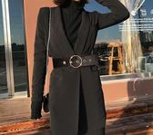 韓國絨女士寬腰帶裝飾大衣毛衣皮帶黑色簡約百搭連身裙羽絨服腰封夢想巴士