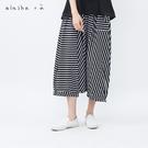 a la sha+a 澎澎圓弧剪接條紋褲裙