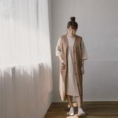 Queen Shop【01085230】圓領七分袖棉質杏色長版洋裝 M/L*現+預*