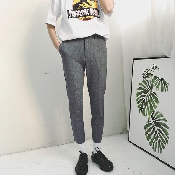 FINDSENSE品牌 時尚潮流 男 百搭 純色 彈力 針織 毛邊 休閑褲 九分
