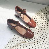 瑪麗珍鞋女復古淺口一字扣單鞋粗跟方頭中跟仙女鞋chic學生鞋  伊莎公主
