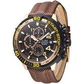 ALBA 終點線任務運動計時男錶-黑+金框/咖啡(AM3112X1)【屈臣氏】