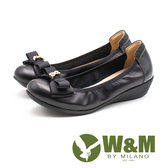 W&M (女)雙蝴蝶結真皮增高娃娃鞋-黑(另有米)