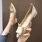 粗跟單鞋女尖頭仙女鞋溫柔平底軟皮低跟法式豆豆鞋【慢客生活】