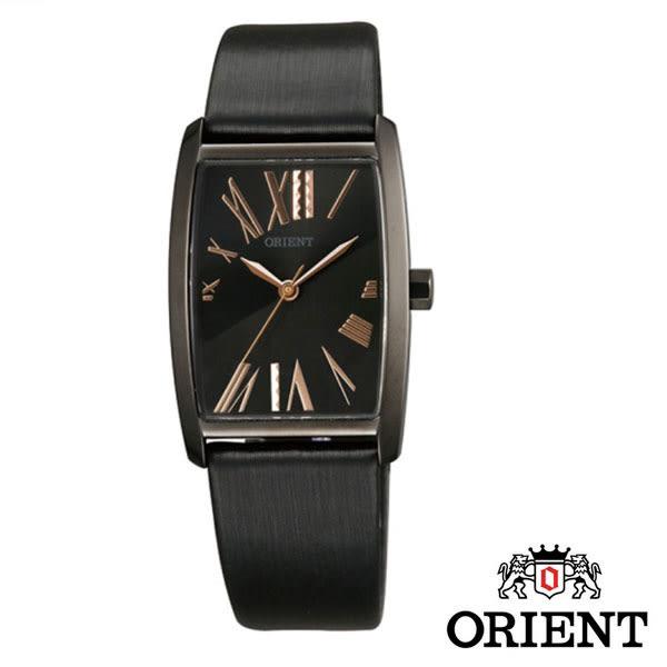 ORIENT 東方錶 優雅黑框酒桶型羅馬字皮帶女錶x直徑25mmx37mm FQCBE001B   名人鐘錶高雄門市