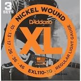 【缺貨】D'Addario EXL110-3D 一組3套 電吉他弦(10-46) 【DAddario/進口弦/EXL-110】