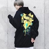 長袖T恤-連帽韓版時尚個性印花男上衣73pr11[巴黎精品]