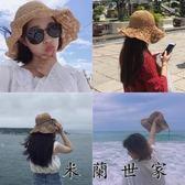 韓版手工鉤針百搭草帽女夏季可折疊