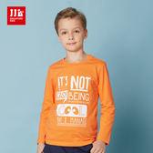 JJLKIDS 男童英倫俏皮字母印花純棉T 橙色