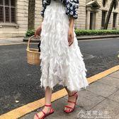 雪紡裙-新款復古港味小清新高腰白色流蘇雪紡A字裙子半身裙 花間公主