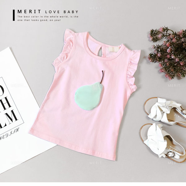 可愛小酪梨荷葉袖粉色上衣 拼布 背心 無袖 竹節棉 俏皮 柔軟 舒適 粉色 女童【哎北比童裝】