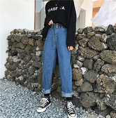 韓國女裝 鬆緊高腰直筒反摺牛仔褲 【C0552】 韓妞穿搭必備 阿華有事嗎