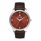 ELIDA 簡約學院風格系列腕錶-紅底咖啡