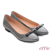 effie 輕甜自適 真皮蝴蝶點點印花質感跟鞋 黑